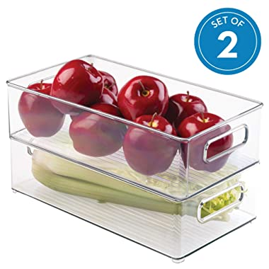 InterDesign Plastic Refrigerator and Freezer Storage Bin with Lid, BPA-Free Organizer for Kitchen, Garage, Basement, 14.5  x 8  x 4 , Set of 2, Clear