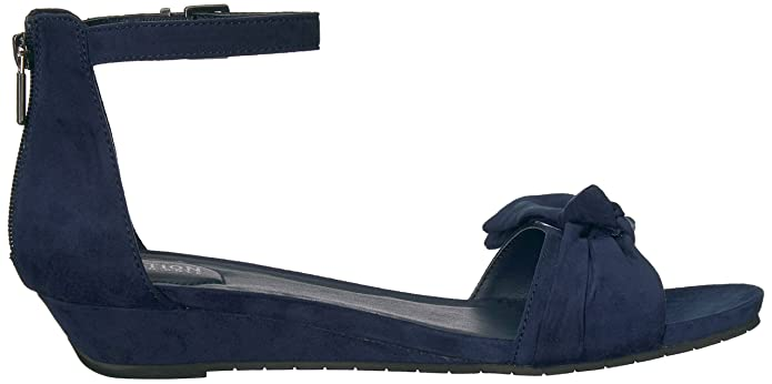 Womens Great Start Low Bow Detail Microsu Wedge Sandal, Navy, 9.5 M US Kenneth Cole Reaction