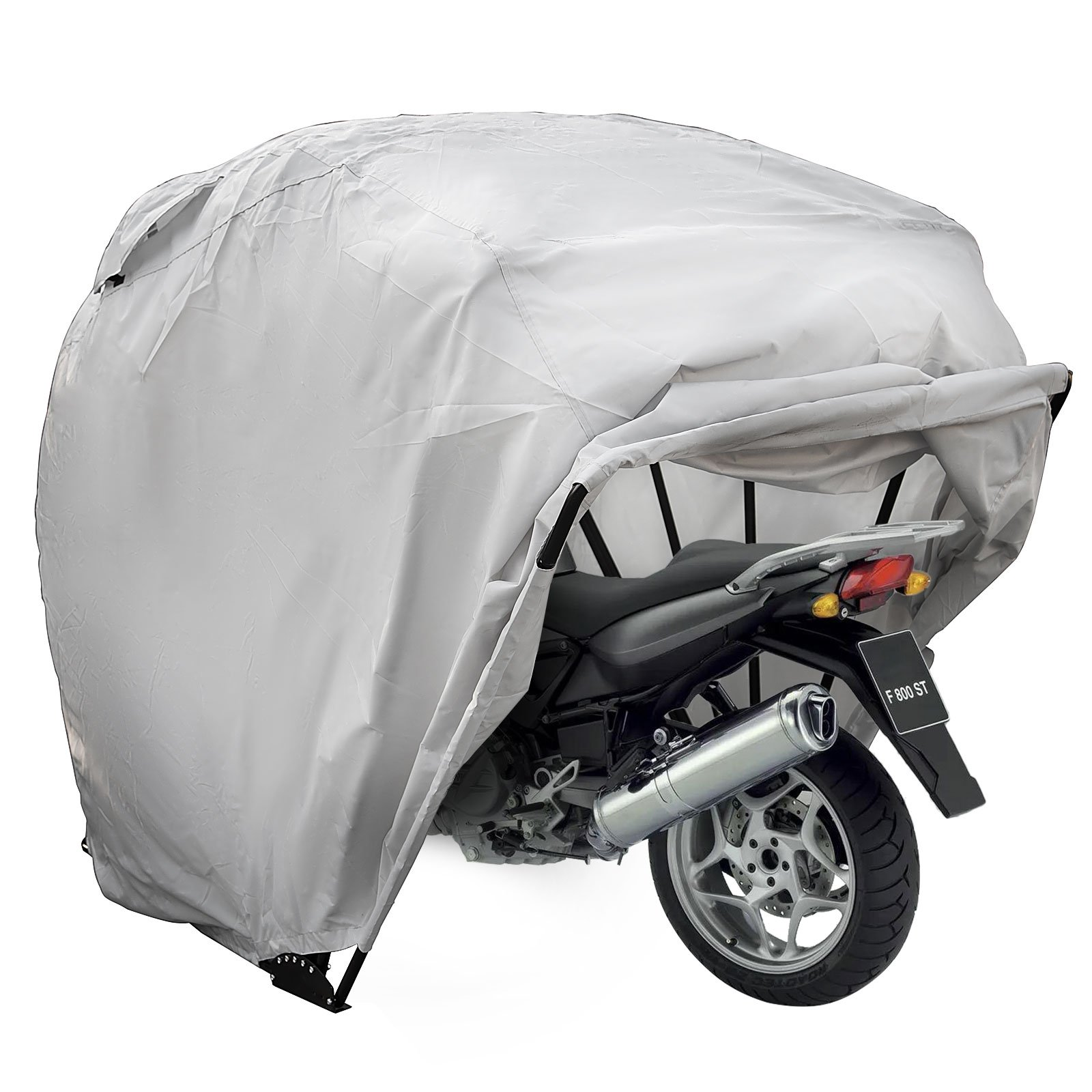 Happybuy Motorcycle Shelter Storage Waterproof Motorbike Storage Tent Oxford 600D Silver Color Motorcycle Shelter Shed with Carry Bag