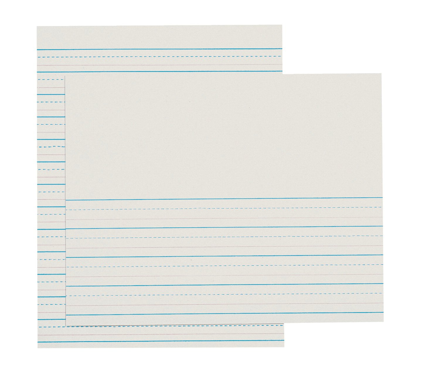 School Smart 85319 Red and Blue Ruled Newsprint for Grade 3-10 1/2 x 8 inches - Ream of 500 - White