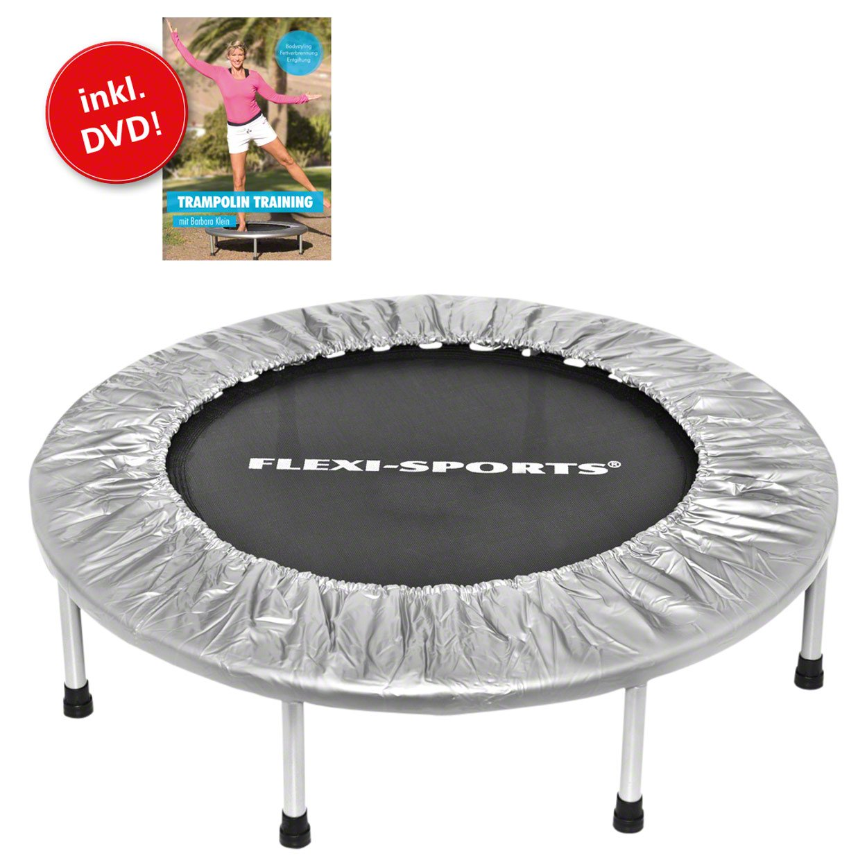 FLEXI-SPORTS® Trampolin IKON Mini 96, ø 100 cm, Fitness Indoor Trampolin, faltbar, inkl. DVD
