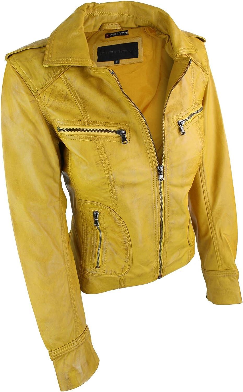 Veste Cuir v/éritable pour Femme Style Biker Fashion Tailles XS-3XL