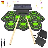 Electronic Drum Set - KONIX Bluetooth Electric Midi Drum Set Kit for Kids Beginner Portable Roll Up Drum Practice Pads…