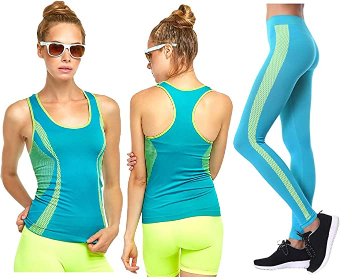 Workout Clothes Womens 2 Piece Set - Yoga Activewear Outfit Exercise Full Set