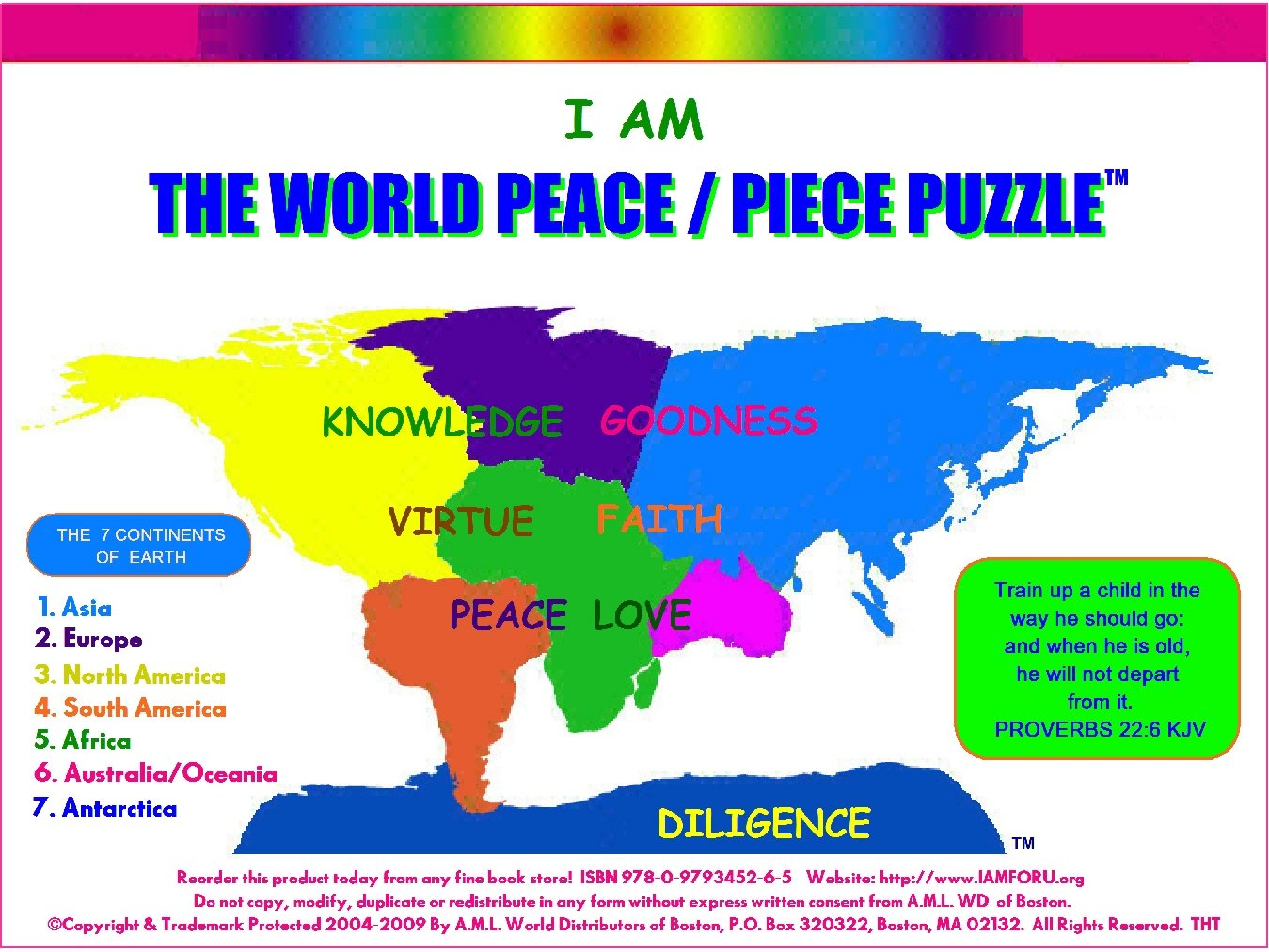 The World Peace Piece Puzzle Proverbs  A M Logan World Distributors Of Boston  Amazon Com Books