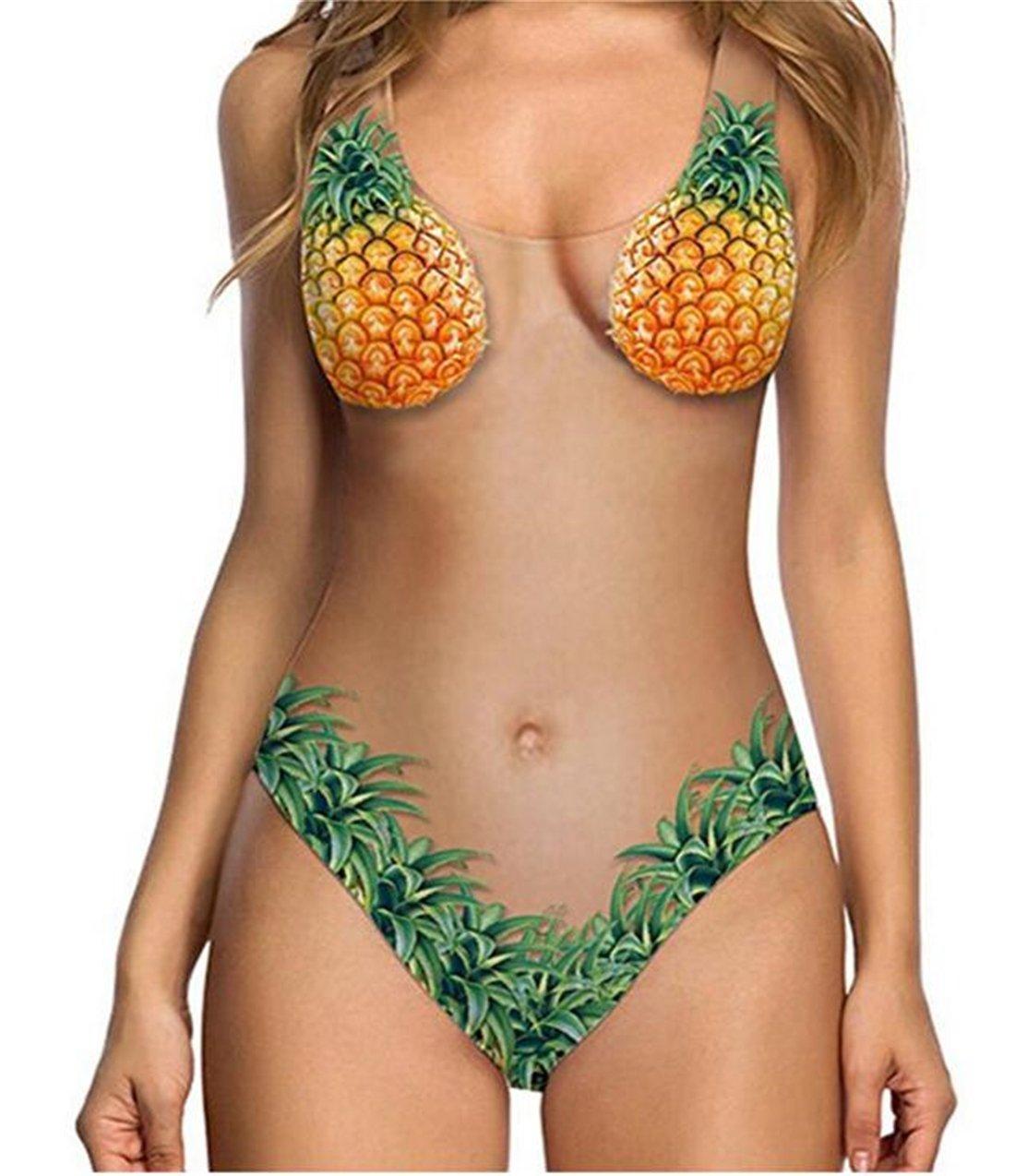 Tmrow 1 set Bikini Bathing Suit, Swimwear Pineapple Skin Color Bikini Swimsuit Female Swimsuit,XL by Tmrow (Image #1)