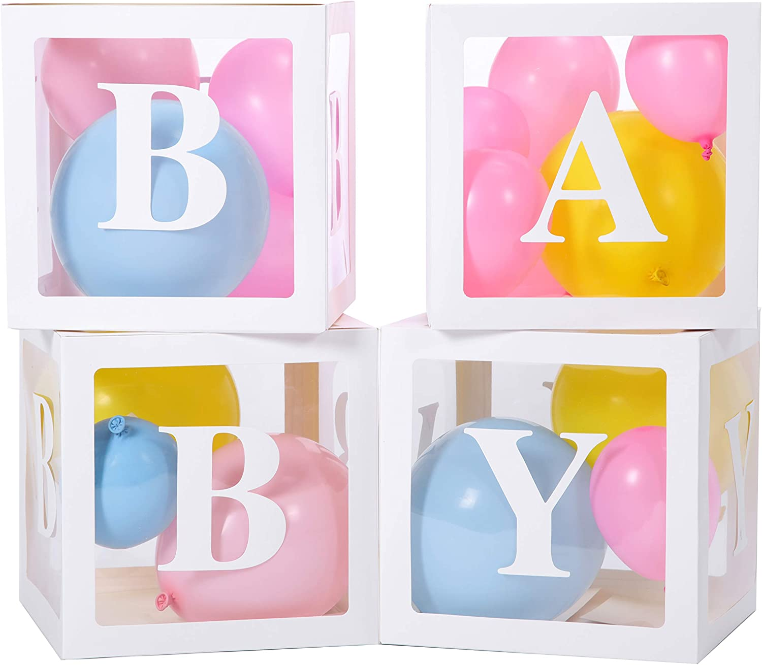 Set of 65 pieces Baby Box Decorations for Baby Shower - Use these Baby Boxes for Baby Shower as Baby Shower Decorations For Gender Reveal Party, Contains Baby Shower Blocks, Baby Boxes with Letters for Baby Shower and Baby Blocks for Baby Shower