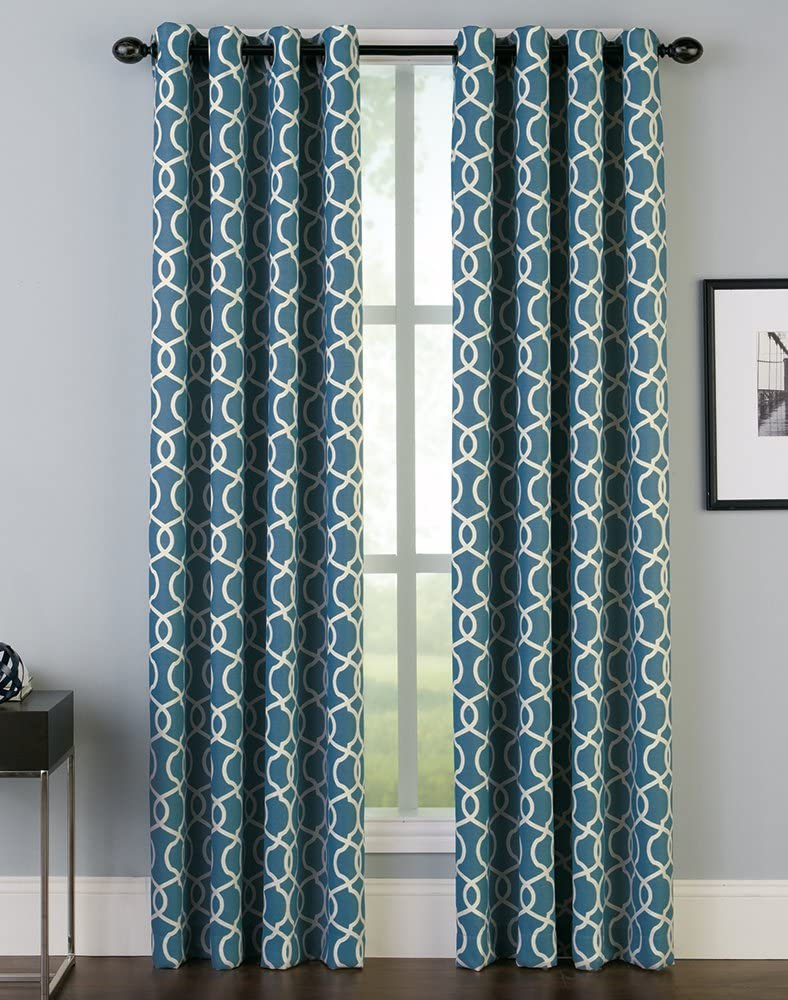 "Peri Home Trellis Irongate Curtain Panel, 84"", Aqua"