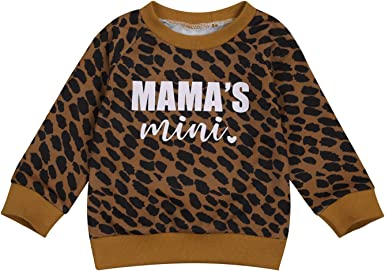 Kids Baby Boy Girl Letter Print Sweater Pullover Leopard Sweatshirt Crewneck Long Sleeve Shirts Blouse Top Fall Clothes