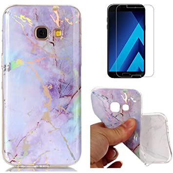 new style 64260 6c1e9 For Samsung Galaxy A5 2017 A520 Marble Case Purple,OYIME Unique Luxury  Glitter Colorful Plating Pattern Skin Design Clear Silicone Rubber Slim Fit  ...