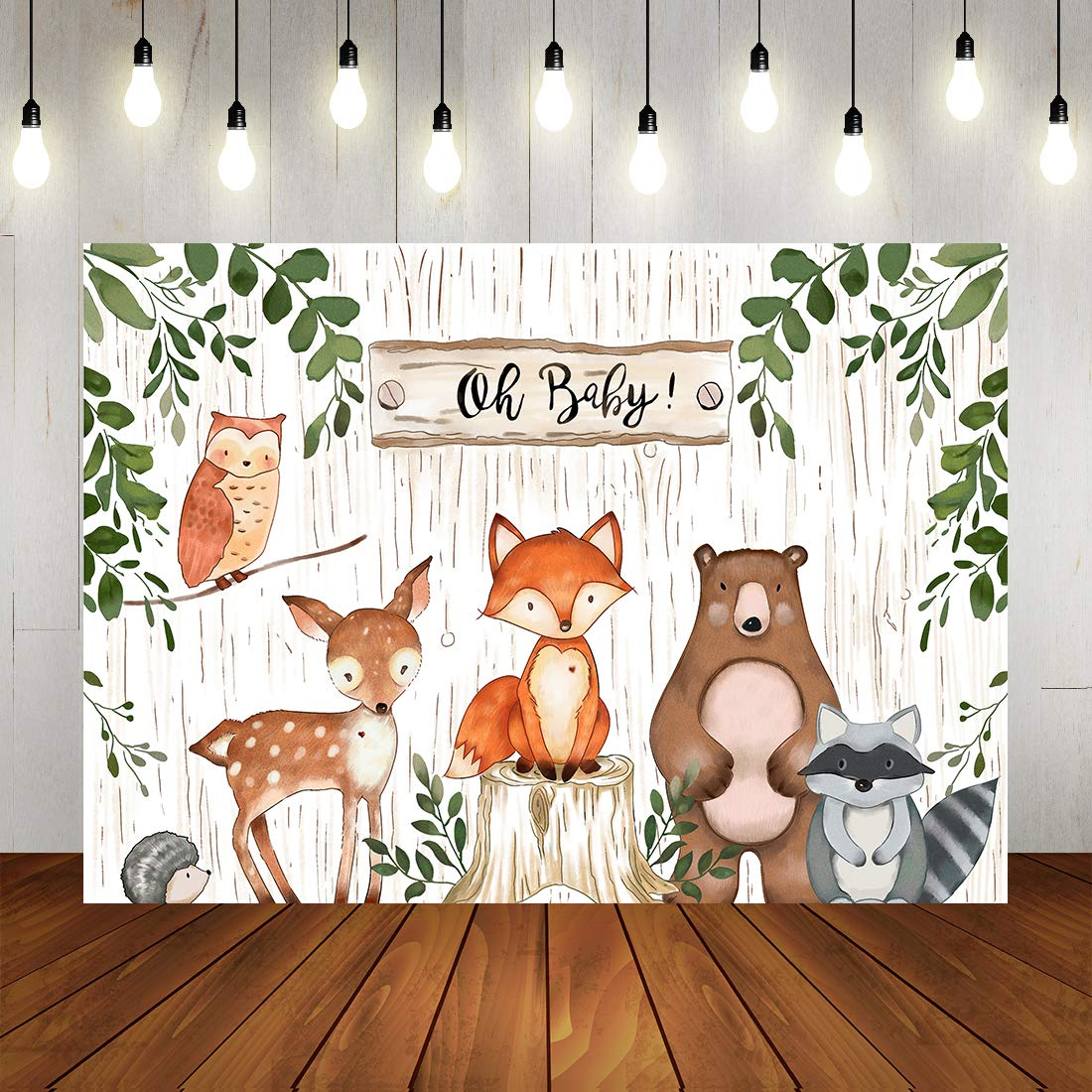 Woodland Baby Shower Backdrop Jungle Animals Theme Banner Happy Birthdays Party Decorations for Kids 7x5ft