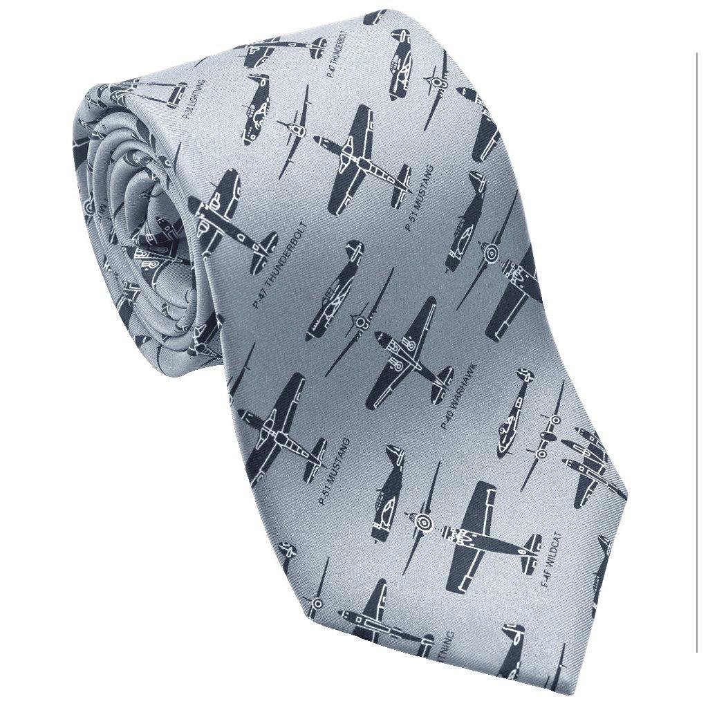 Josh Bach Mens WWII Fighter Planes Silk Necktie in Gray, Made in USA