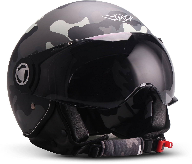 Amazon.es: Moto Helmets H44 Biker Jet de casco helmet Retro Scooter de casco Chopper Vintage Mofa Cruiser Pilot Bobber Moto Casco etsrrad de casco Roller de ...