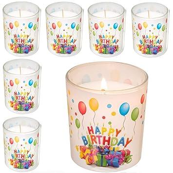 Idée Cadeau D Anniversaire.Smart Planet Lot De 6 Bougies Happy Birthday En Verre Bougie D Anniversaire Idée Cadeau D Anniversaire Bougies Décoratives