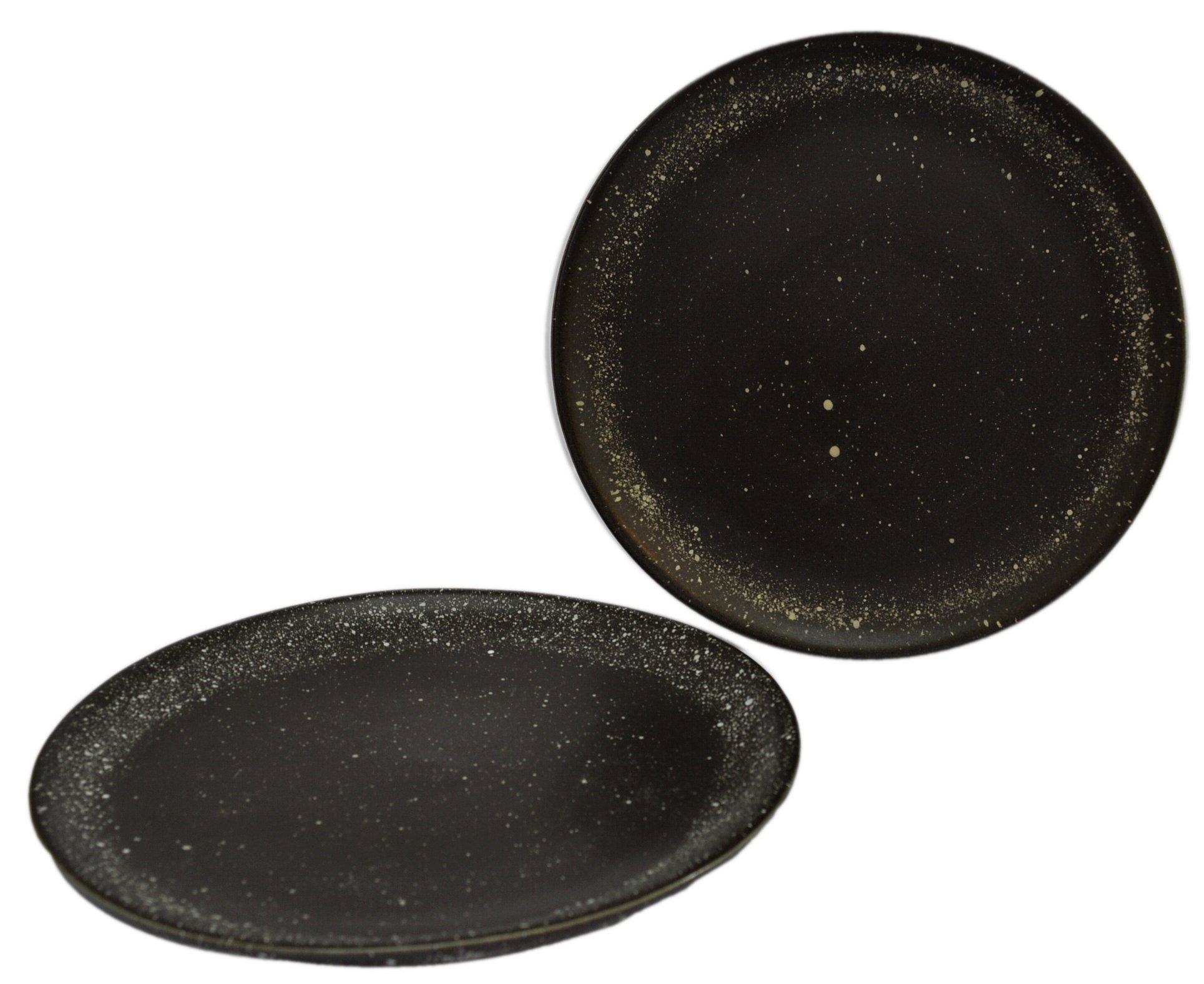RoRo Ceramic Stoneware Matte Black Speckled Appetizer Plate Set of 2, 8 Inch