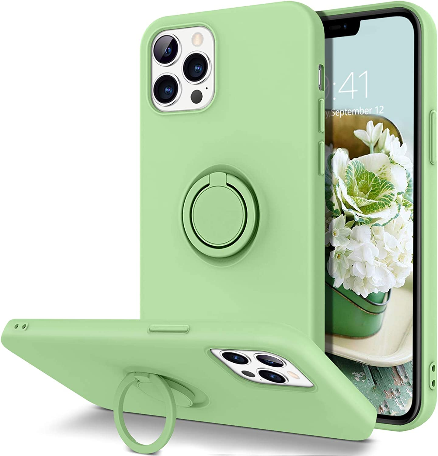 GUAGUA Compatible with iPhone 12/12 Pro Case 5G 6.1 Inch Liquid Silicone with Ring Holder Kickstand Soft Gel Rubber Microfiber Lining Cushion Slim Protective Cover for iPhone 12 Pro/12 Matcha Green