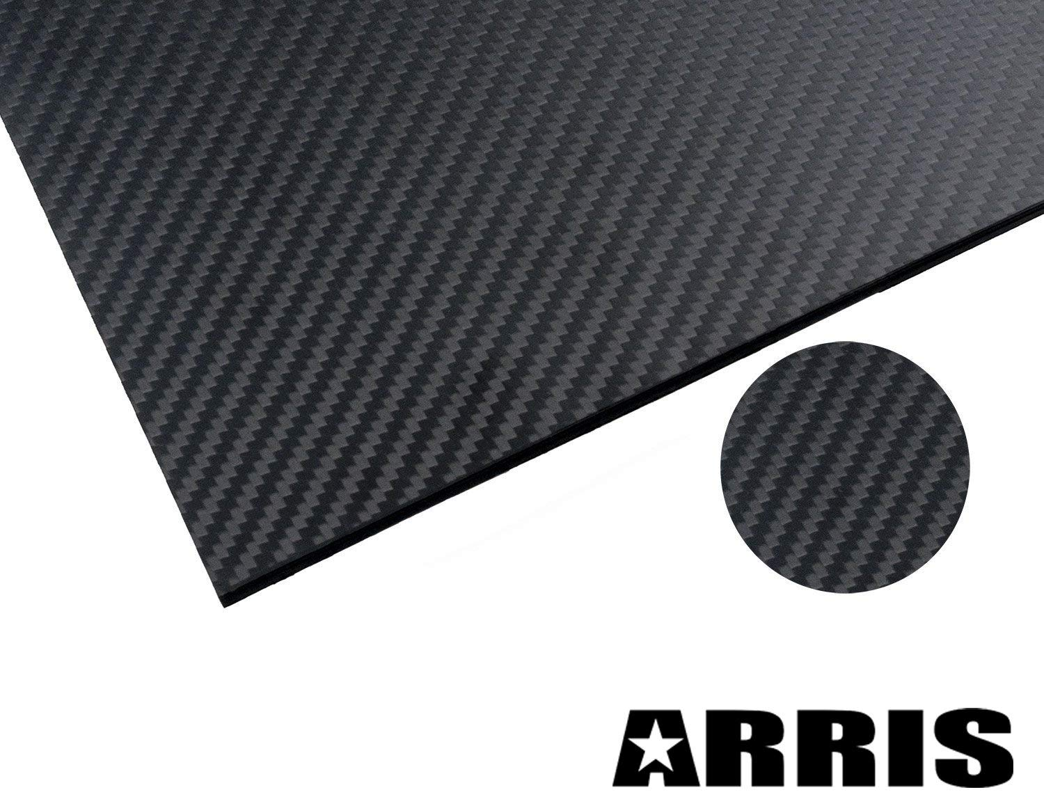 ARRIS 3.0mm 400X500X3.0MM 100% 3K Carbon Fiber Plate Plain Weave Panel Sheet (Glossy Surface) by ARRIS