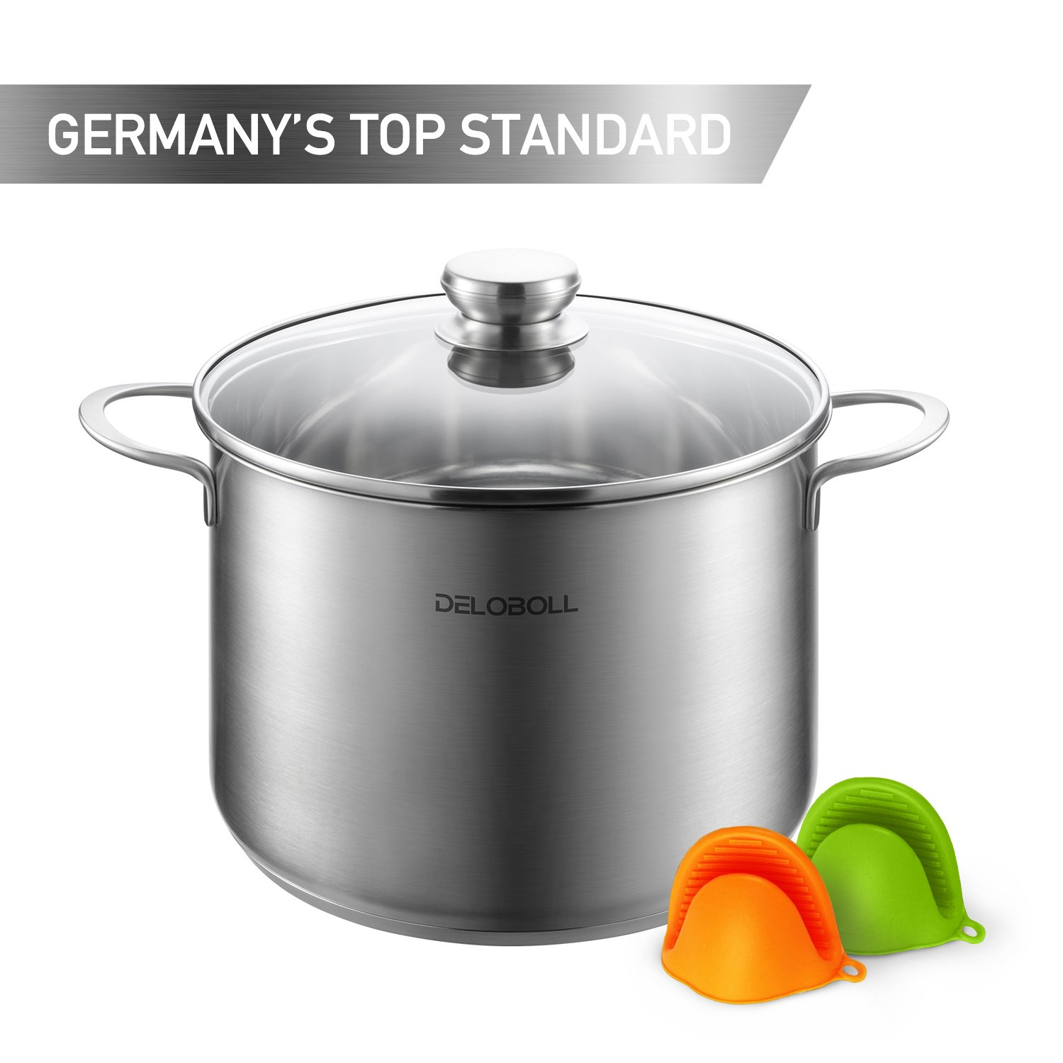 DELOBOLL 8.5 Quart Tri-Ply Base Covered Stainless Steel Stockpot, GERMAN STANDARD, Multi-clad Base Induction Cookware, Dishwasher Safe Soup Pot with Lid + 2 silicone oven mitts