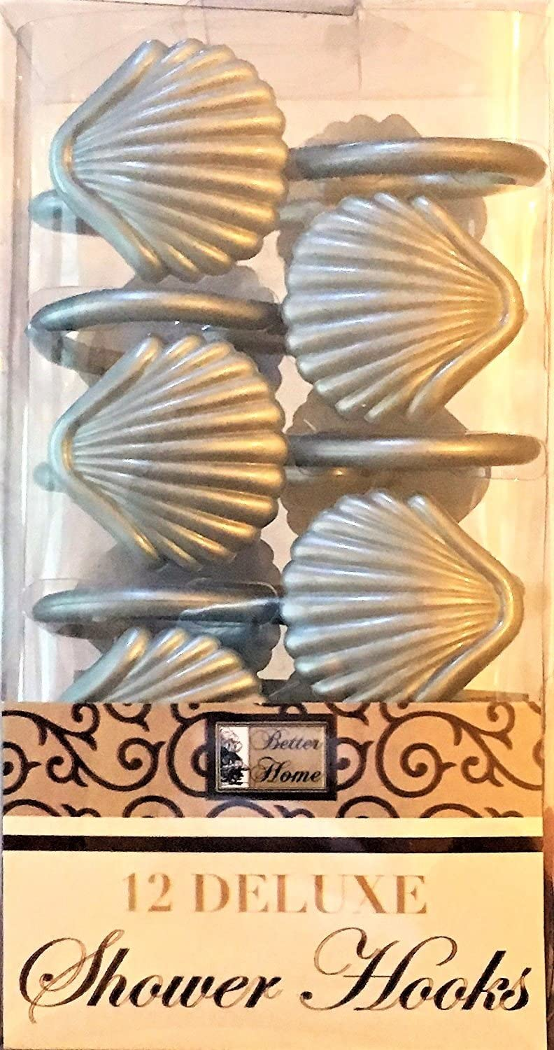 Better Home 12 Sea Shell Deluxe Shower Hooks S Shaped Fun Design Curtain Rings (Silver)