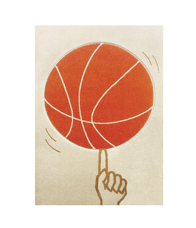 Little Helper - Scendiletto a pelo folto IVI, in materiale ipoallergenico di alta qualità , motivo'Palla da basket', disegno in rilievo con effetto tridimensionale, 134 x 180 cm, colore: Arancio/Panna in materiale ipoallergenico di alta qualità