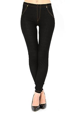 15ee22e6d83a6 Get The Trend Womens High Waist Denim Look Feel Navy Black Jeggings Jean  Leggings 8 10 12 14 (8/10 UK, Black): Amazon.co.uk: Clothing
