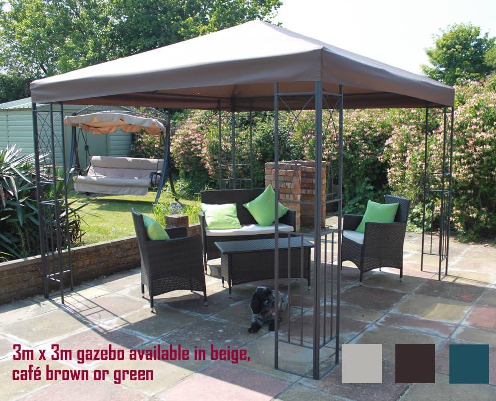 Classic Garden Shop Twyford - Cenador con estructura metálica y toldo marrón: Amazon.es: Jardín