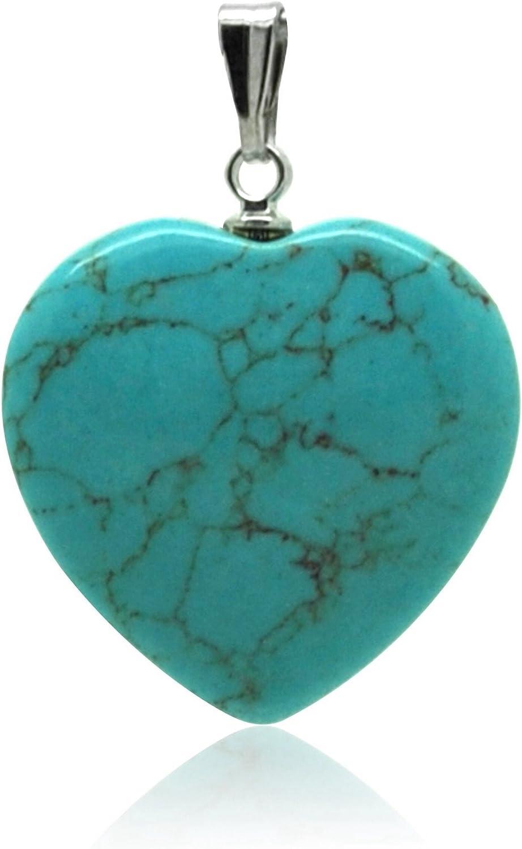 Piedras - Colgante minerales en forma de corazón – turquesa Día de la Madre para mamá
