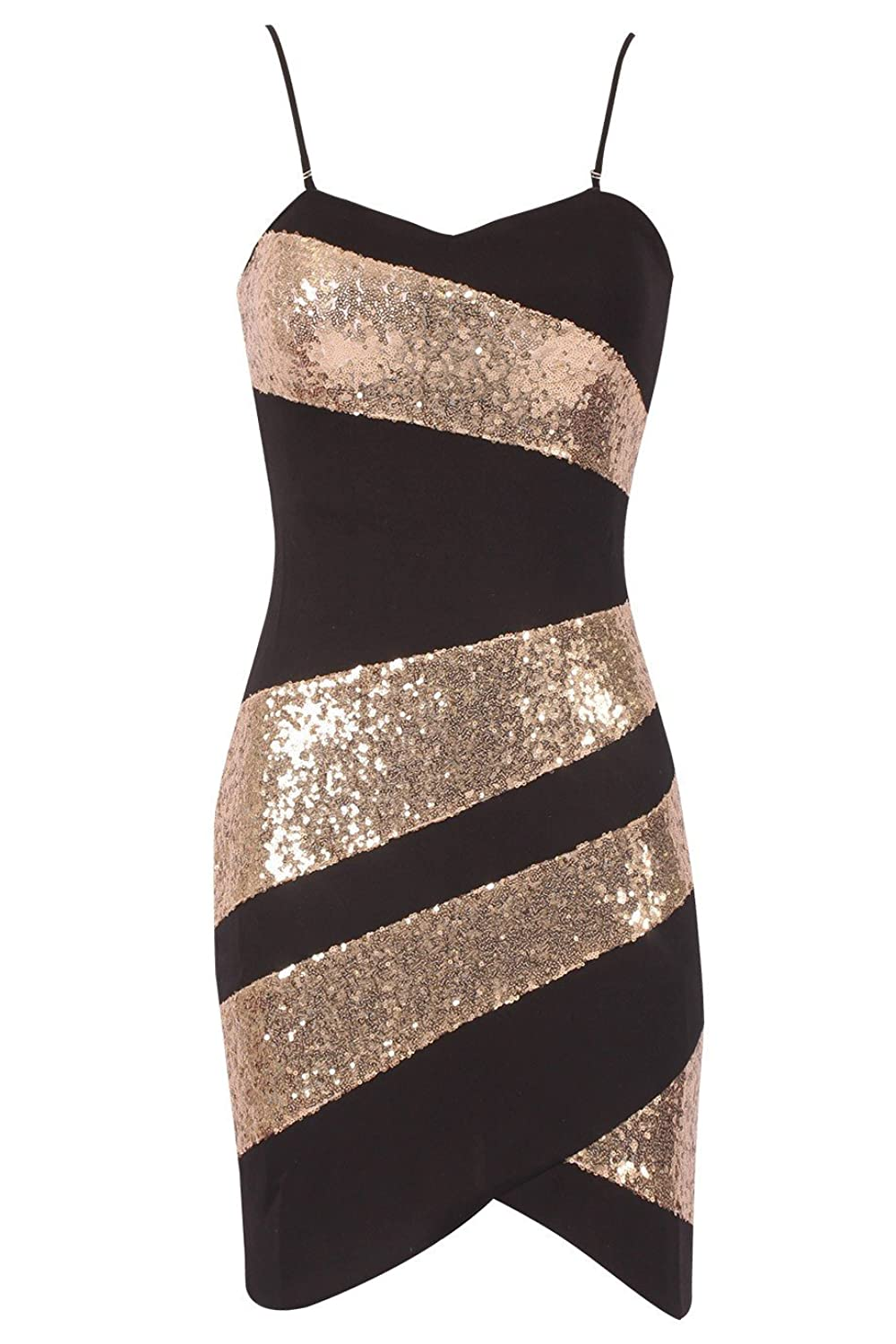 Ladies Sequin Panel Bodycon Dress UK Size 8-16