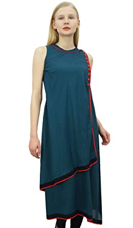 Damen Designer marineblau Tunika Baumwolle bestickt Anarkali kurti