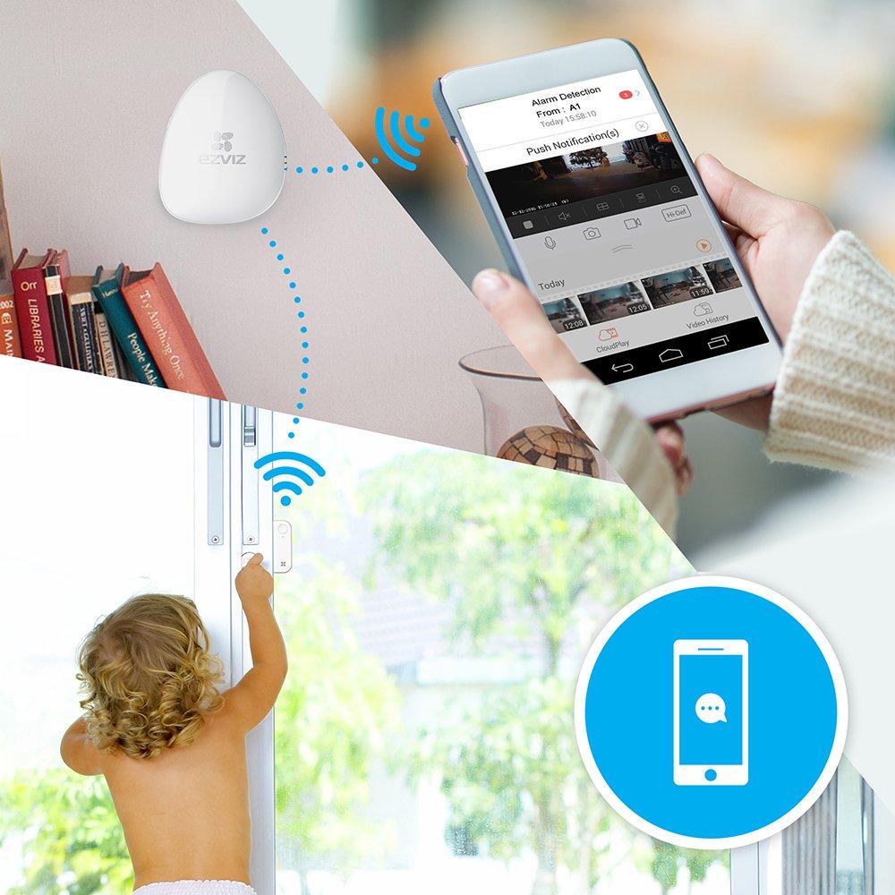 EZVIZ Sensor inalámbrico de ventanas y puertas T6,la alarma se dispara con un ángulo de 3°, funciona con la central de alarma A1 (no incluida)