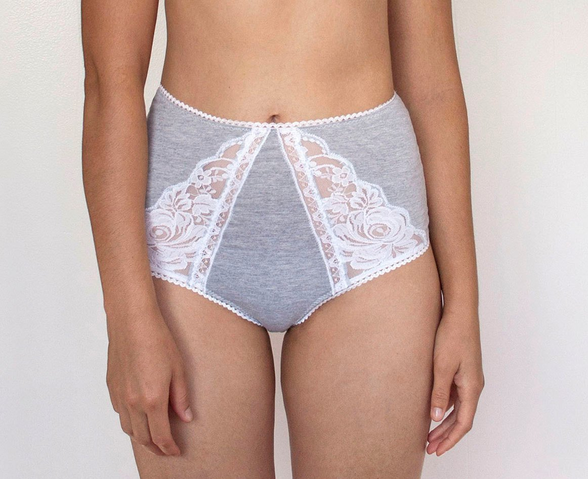 8d6b4ed7dc4 Amazon.com  High Waist Panties. Grey and White Lace. Sheer Lace back. Bridal  Lingerie  Handmade