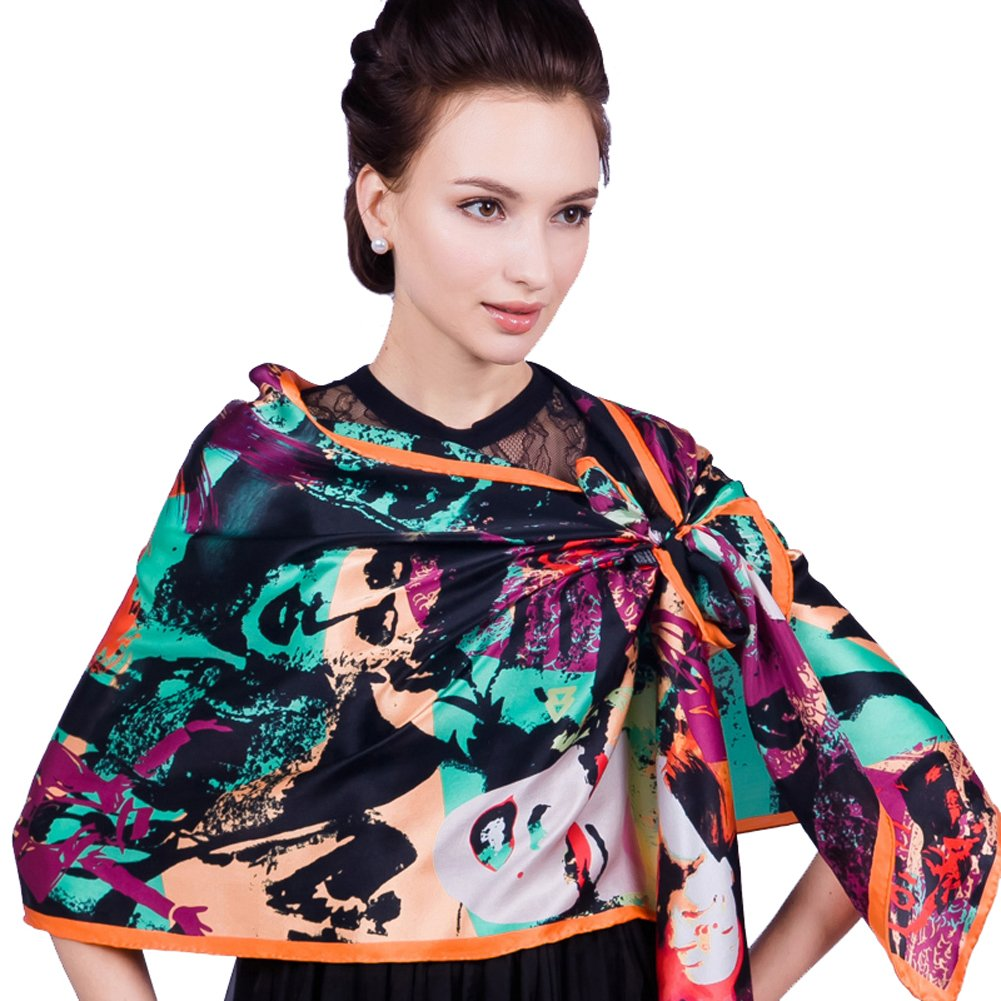 New Arrival Scarf Western Style Women's Real Silk Extended Long Scarf Mulberry Silk Scarf Orange by YSW
