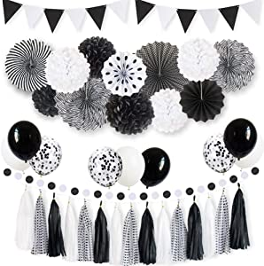 ANSOMO Black and White Party Decorations and Supplies, for Baby Shower and Birthday, with Paper Fan and Tassel Garland