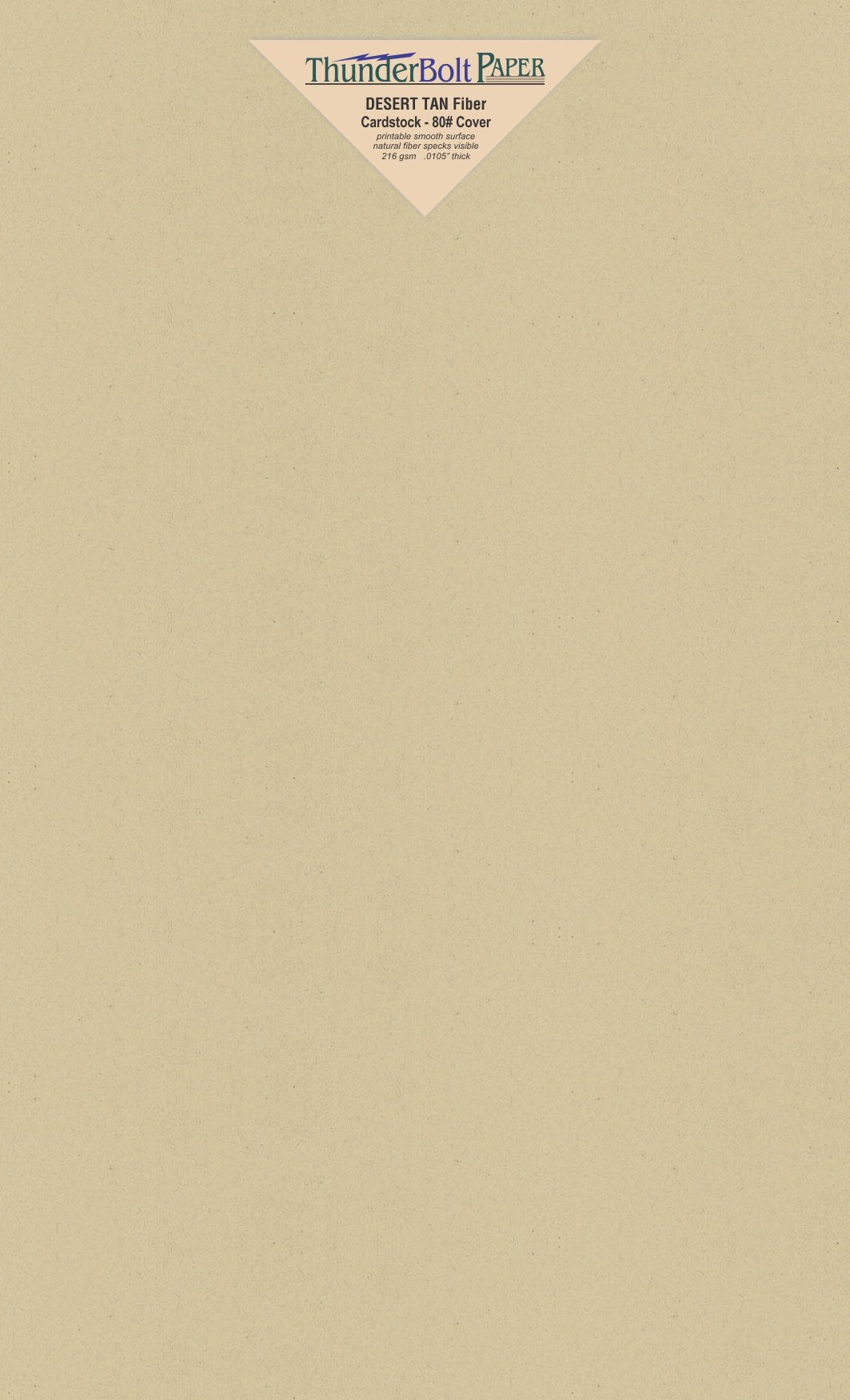 250 Desert Tan Fiber Finish Cardstock Paper Sheets - 8.5 X 14 Inches Legal|Menu Size - 80 lb/Pound Cover|Card Weight 216 GSM - Natural Fiber with Darker Specks - Slightly Rough Finish