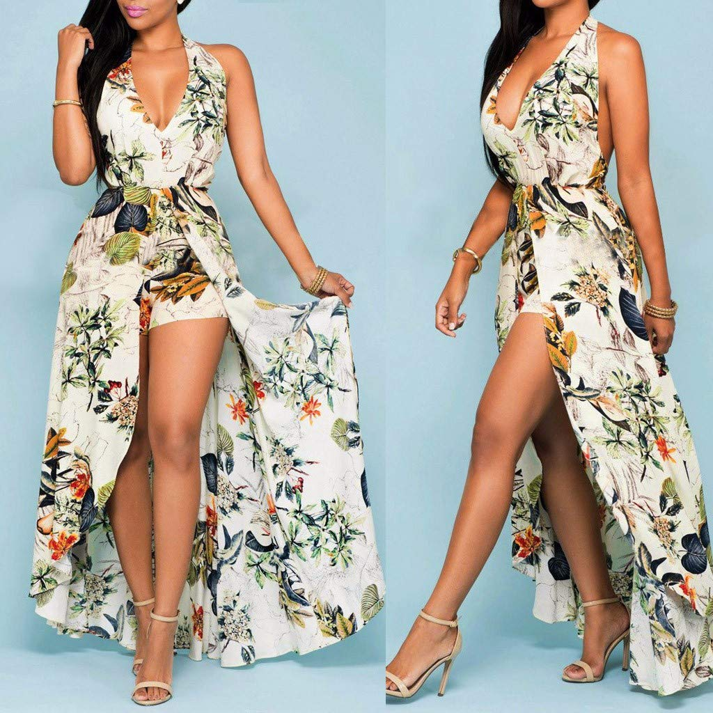 Witspace Women Summer Off Shouder Flower Party Jumpsuit Playsuit Beach Trousers Culottes