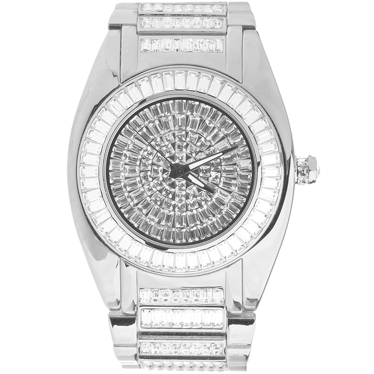High Quality ICED OUT CZ Uhr - ROBUSTO silber
