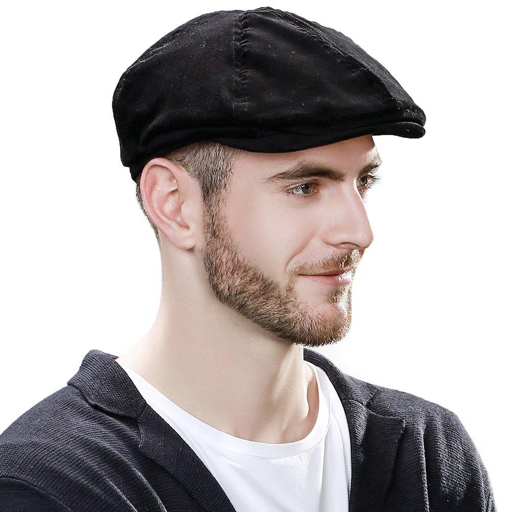 Cotton Newsboy Cap for Men Winter Hat Hunting Ivy Flat Cap British Drivers Cap Black Elastic by Comhats