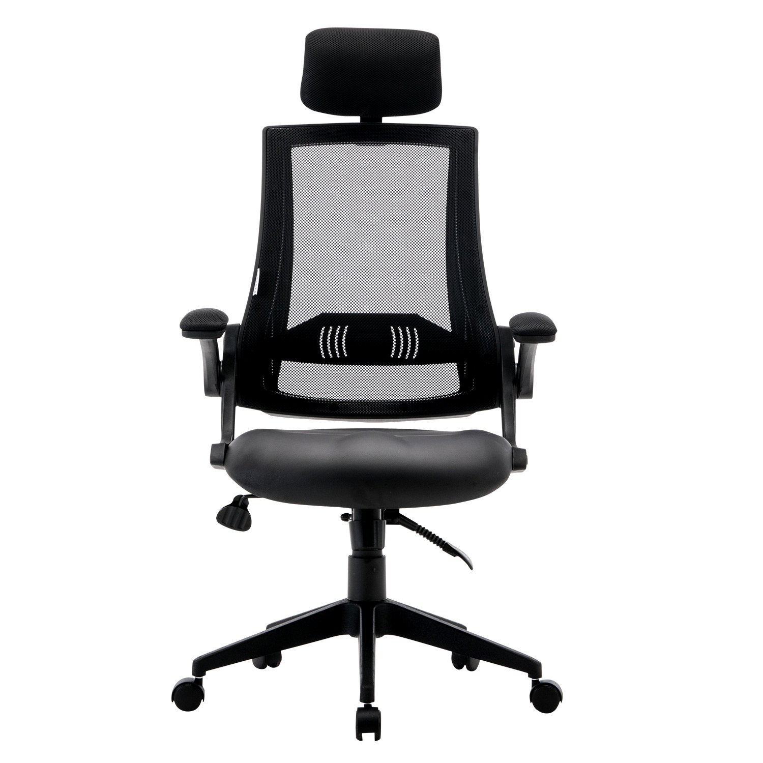 LCH Ergonomic Mesh Office Chair with Leather Seat, High Back,Flip-up Armrests,90°- 110° Tilt Lock,Adjustable Back Lumbar Support Computer Desk Task Executive Swivel Chair