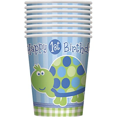 9oz Turtle 1st Birthday Party Cups, 8ct: Toys And Games: Kitchen & Dining