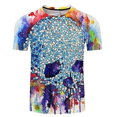 aa4bfe60c4984d YICHUN Homme Femme Tops T-Shirt de Loisir Tête de Mort Crâne Tunique Tees  Chemisier