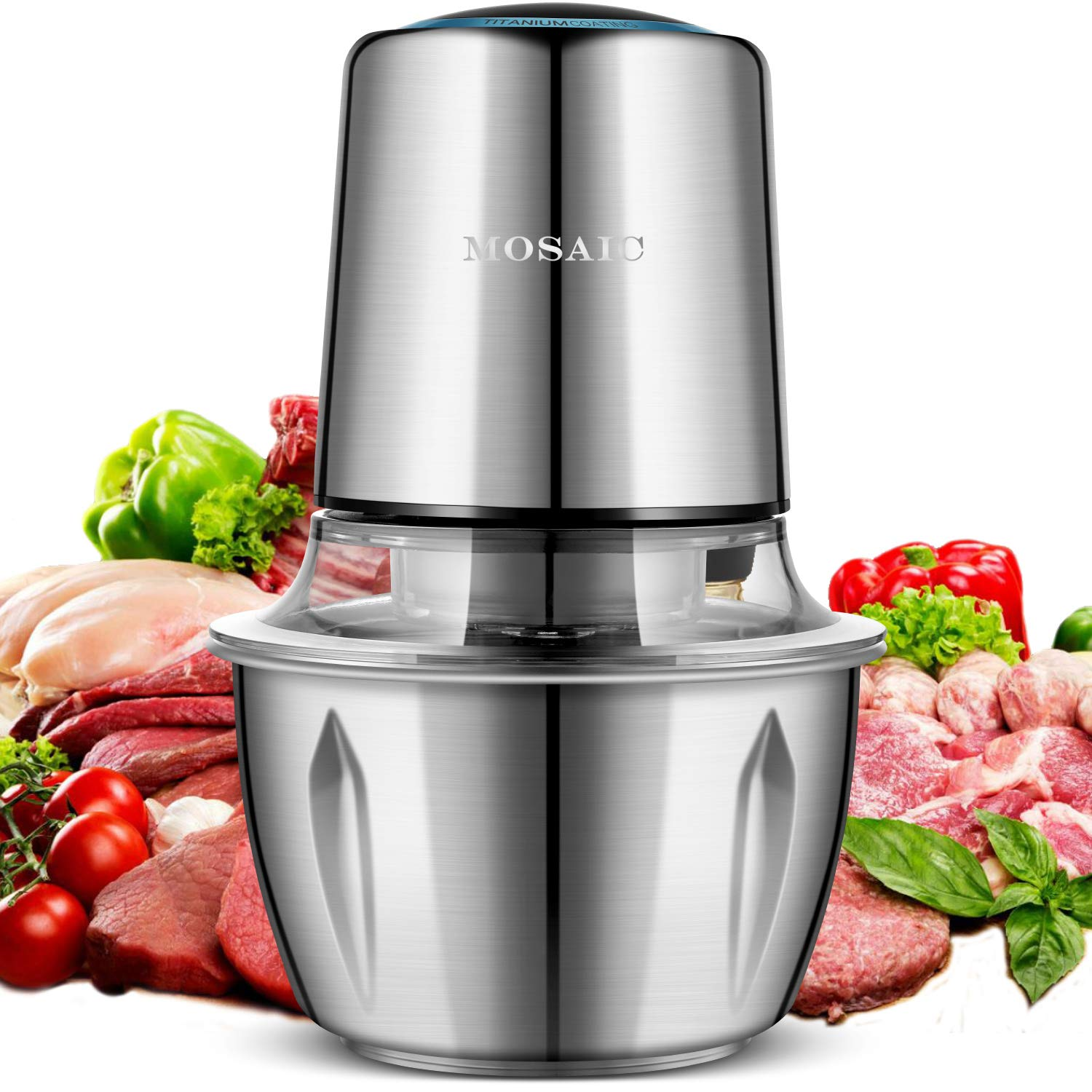 Electric Food Chopper, MOSAIC 400W Meat Grinder with 4 Titanium Coating Blades and 5-Cup Stainless Steel Bowl, 2 Speed Kitchen Processor and Mincer for Vegetable Fruit Cheese and Nuts
