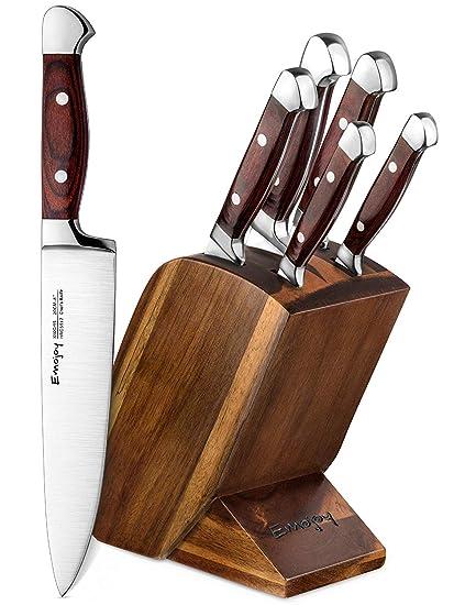 Emojoy Cuchillos Cocina, Juegos de Cuchillos Profesionales, Incluye un Bloque de Madera y 5 Piezas de Cuchillos de Cocina Acero Inoxidable Alemán