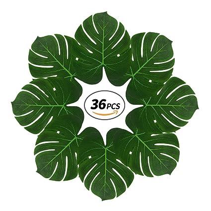 amazon com tropical palm leaves with 2 sticks 36 pcs 13 reusable
