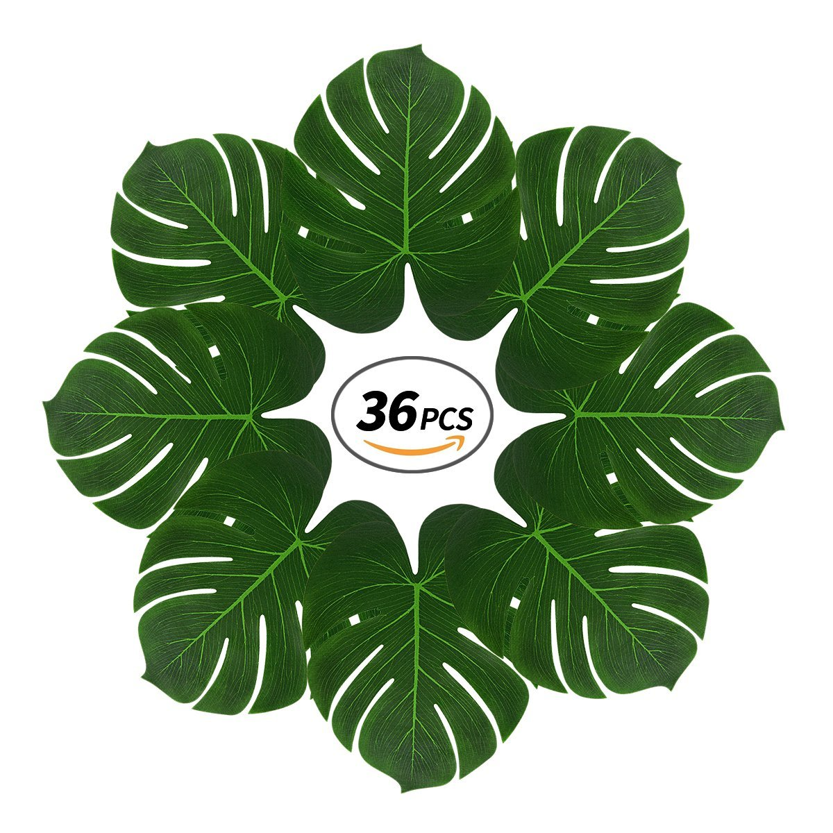 Tropical Palm Leaves with 2 Sticks,36 Pcs 13'' Reusable Large Fake Leaves for Luau Party,Jungle Themed Party,Havana Nights,Baby Shower Decor