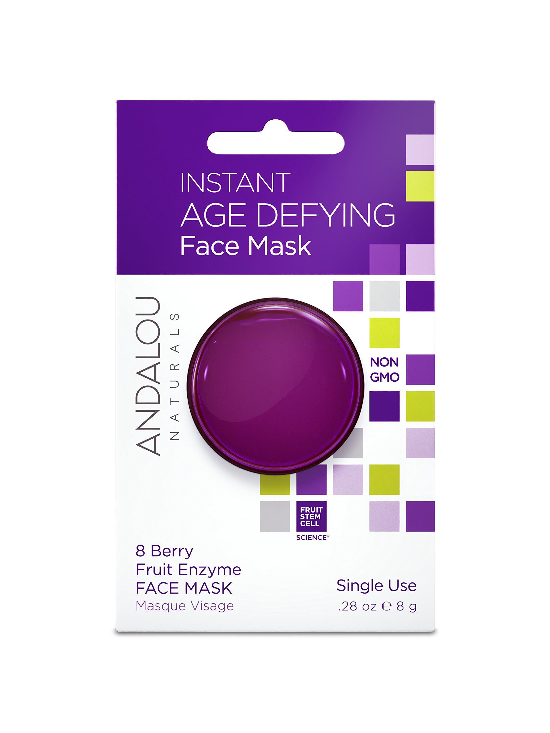 Andalou Naturals Instant Age Defying 8 Berry Fruit Enzyme Face Mask Pod, 0.28 Ounce