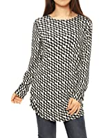 Allegra K Women's Long Sleeve Printed Shirred Sides Knitted Tunic Tops