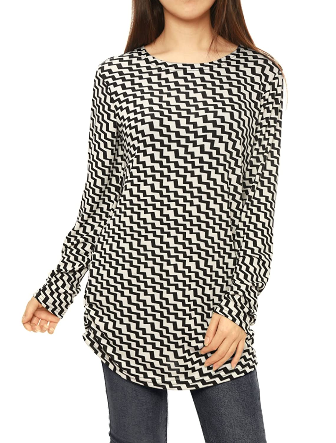 Allegra K Lady Manches Longues Col Rond Lettre Motif Pull-over Chemise Tricot