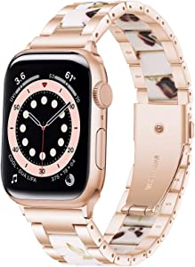 Wipalor Resin Stainless Steel Band Compatible with Apple Watch Band 38mm 40mm, Watch Bracelet Rose Gold for iWatch, Men and Women Replacement band for Apple Watch Series 6 5 4 3 2 1 SE (Milk Nuts)