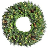 Vickerman Cheyenne Wreath with Dura-Lit 100 Clear Lights, 36-Inch