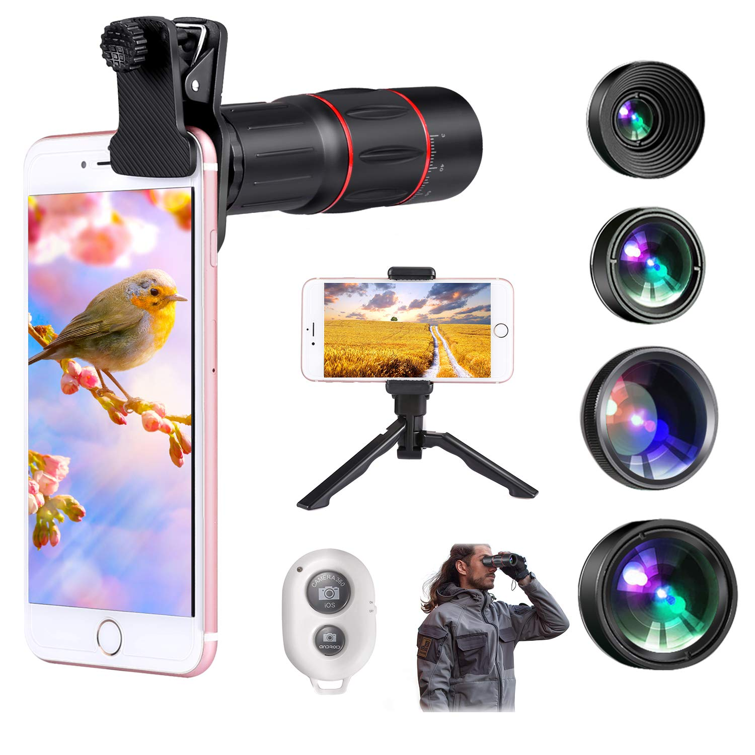 Jisusu for iPhone Camera Lens Kit,18x Telephoto Lens+120°Wide Angle+180°Fisheye+20X Macro+CPL Lens+Tripod+ Shutter Remote,Clips-On Cell Phone Camera Lens for iPhone/Samsung/Android/Most Smartphones by JISUSU